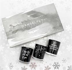"Damselfly - ""Merry Kiss my ass Bitches"" Australia natural made, ""Naughty"" aromas candles Christmas box set"